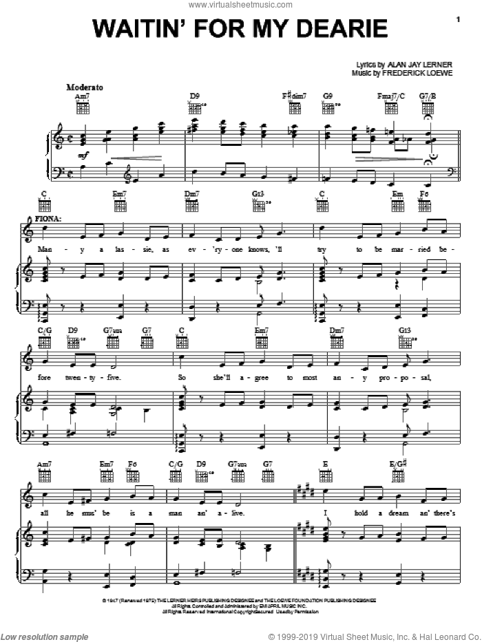 Waitin' For My Dearie sheet music for voice, piano or guitar by Lerner & Loewe, Brigadoon (Musical), Alan Jay Lerner and Frederick Loewe, intermediate skill level