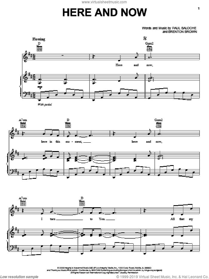 Here And Now sheet music for voice, piano or guitar by Paul Baloche and Brenton Brown, wedding score, intermediate skill level
