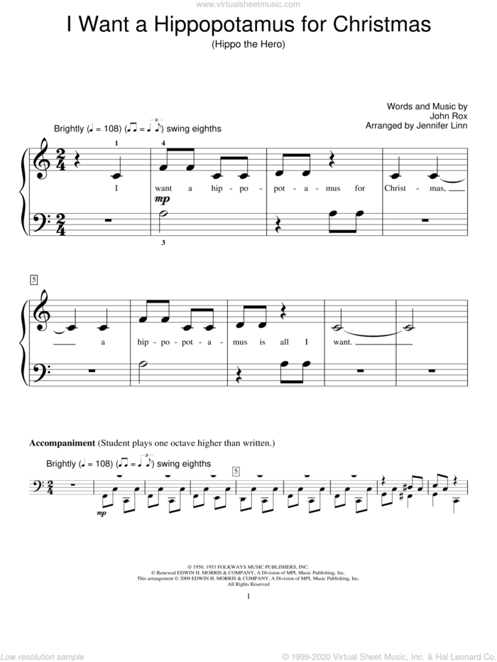I Want A Hippopotamus For Christmas (Hippo The Hero) sheet music for piano solo (elementary) by John Rox, Jennifer Linn and Miscellaneous, beginner piano (elementary)