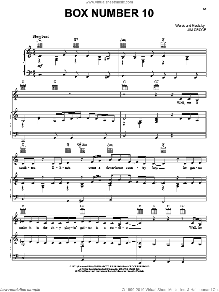 Box Number 10 sheet music for voice, piano or guitar by Jim Croce, intermediate skill level