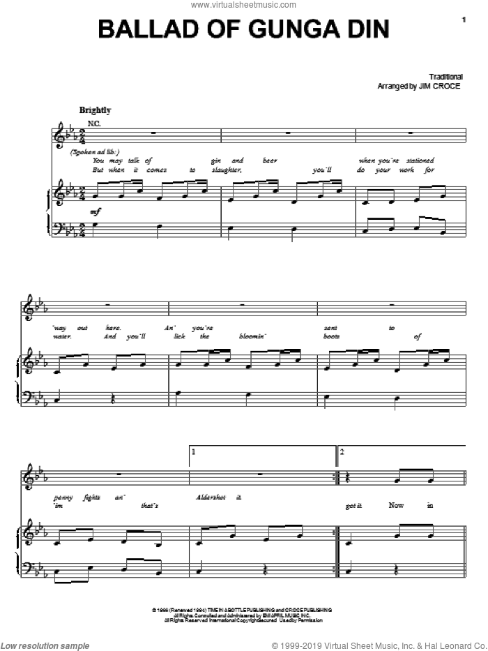 Ballad Of Gunga Din sheet music for voice, piano or guitar by Jim Croce and Miscellaneous, intermediate skill level