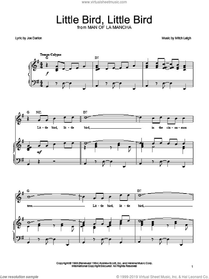 Little Bird, Little Bird sheet music for voice, piano or guitar by Joe Darion, Man Of La Mancha (Musical) and Mitch Leigh, intermediate skill level