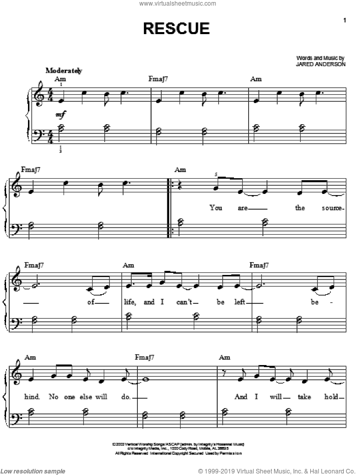Rescue sheet music for piano solo by Jared Anderson, easy skill level