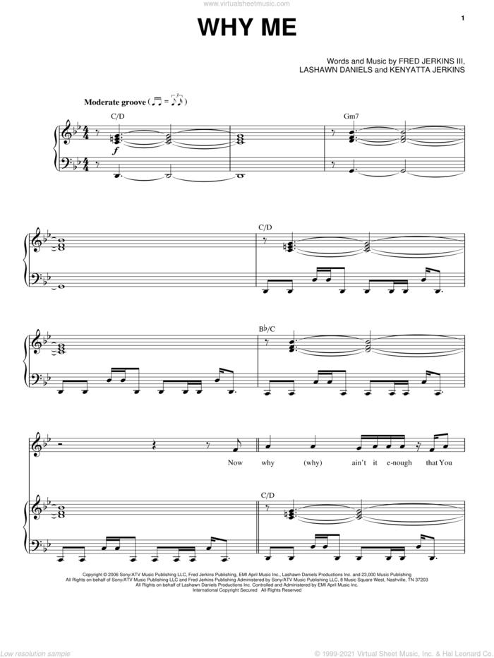 Why Me sheet music for voice, piano or guitar by Kierra 'KiKi' Sheard, Fred Jerkins III, Kenyatta Jerkins and LaShawn Daniels, intermediate skill level