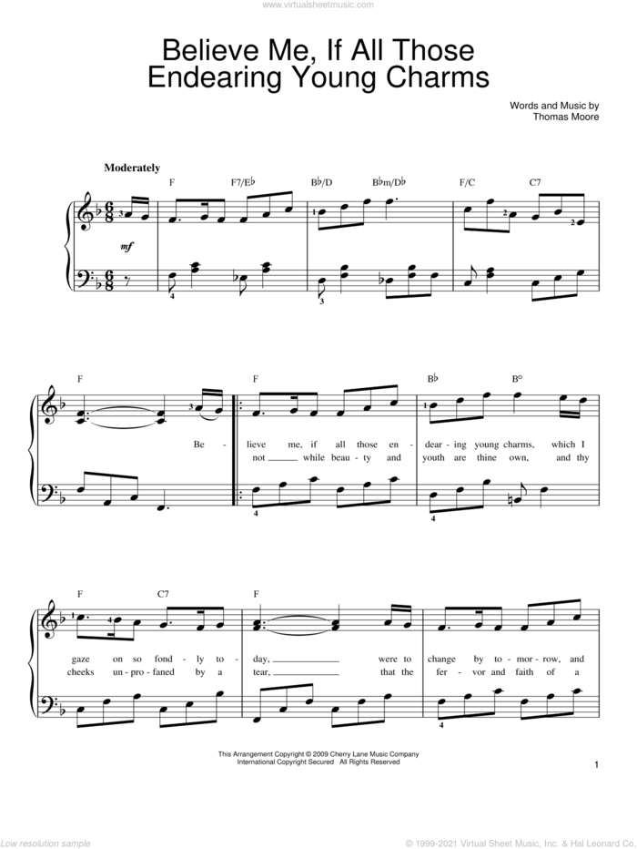 Believe Me, If All Those Endearing Young Charms sheet music for piano solo by Thomas Moore, easy skill level