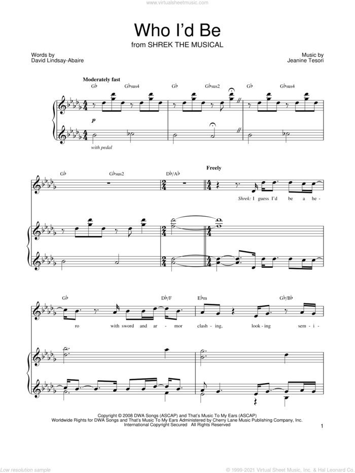 Who I'd Be sheet music for voice, piano or guitar by Shrek The Musical, David Lindsay-Abaire and Jeanine Tesori, intermediate skill level