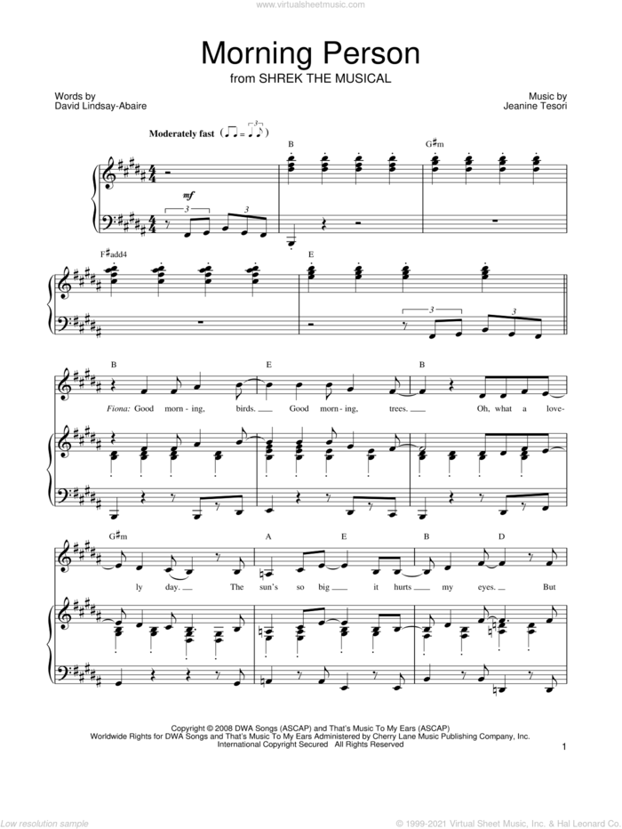Morning Person sheet music for voice, piano or guitar by Shrek The Musical, David Lindsay-Abaire and Jeanine Tesori, intermediate skill level