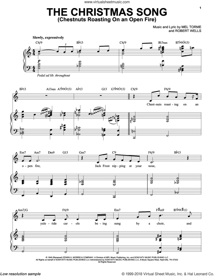 The Christmas Song (Chestnuts Roasting On An Open Fire) sheet music for voice and piano by Michael Buble, Mel Torme and Robert Wells, intermediate skill level