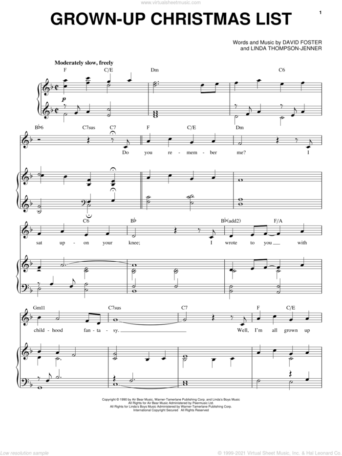 Grown-Up Christmas List sheet music for voice and piano by Michael Buble, Amy Grant, David Foster and Linda Thompson-Jenner, intermediate skill level