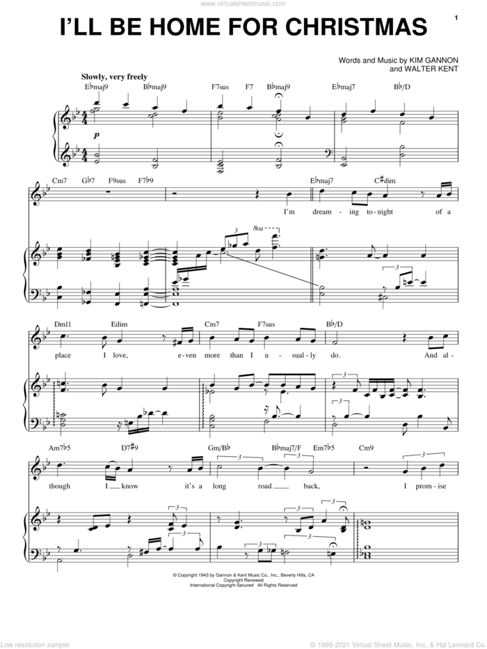 I'll Be Home For Christmas sheet music for voice and piano by Michael Buble, Bing Crosby, Kim Gannon and Walter Kent, intermediate skill level