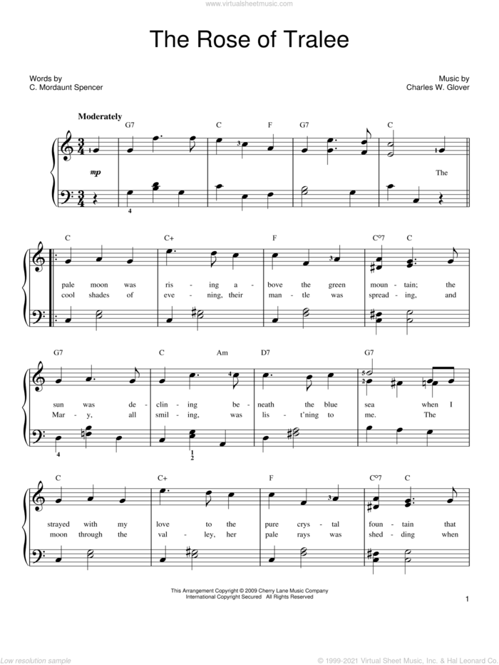 The Rose Of Tralee sheet music for piano solo by Charles W. Glover and C. Mordaunt Spencer, easy skill level