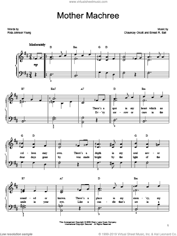 Mother Machree sheet music for piano solo by Chauncey Olcott, Ernest R. Ball and Rida Johnson Young, easy skill level