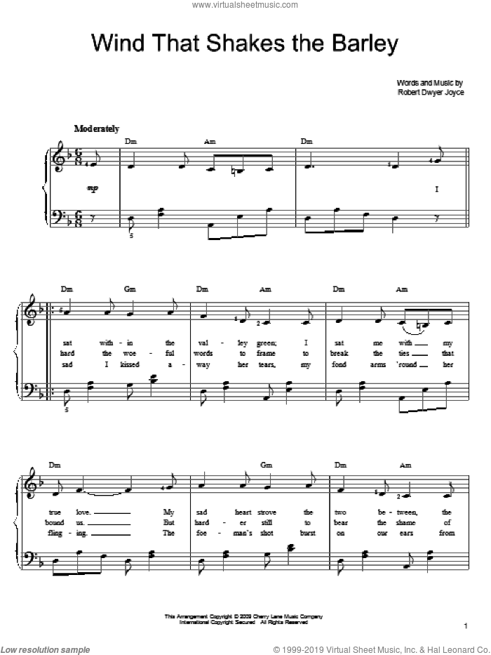 Wind That Shakes The Barley sheet music for piano solo by Robert Dwyer Joyce, easy skill level