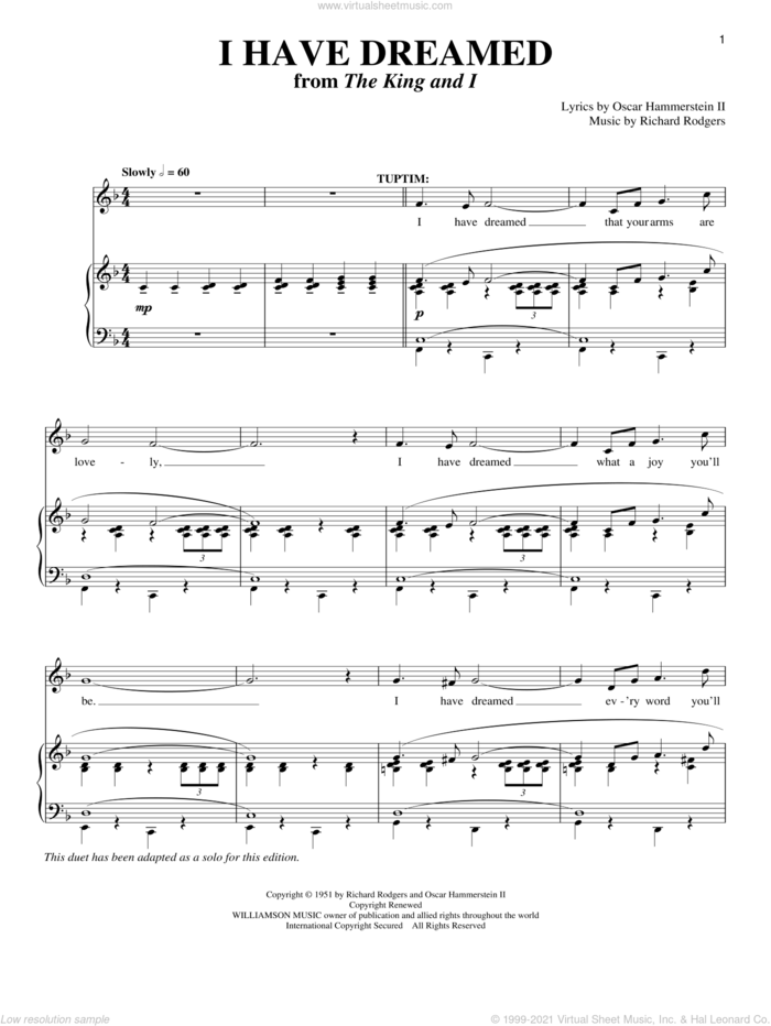 I Have Dreamed sheet music for voice and piano by Rodgers & Hammerstein, The King And I (Musical), Oscar II Hammerstein and Richard Rodgers, intermediate skill level