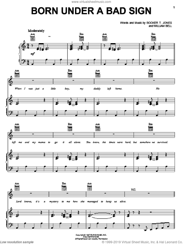 Born Under A Bad Sign sheet music for voice, piano or guitar by Albert King, Cream, Booker T. Jones and William Bell, intermediate skill level