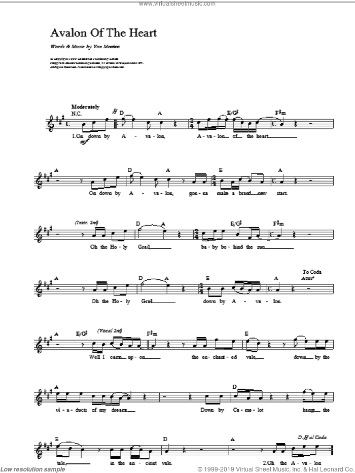 Avalon of The Heart sheet music for voice and other instruments (fake book) by Van Morrison, intermediate skill level