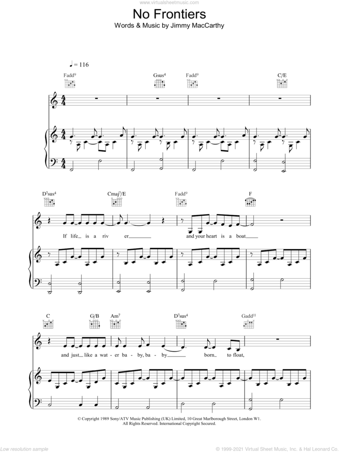 No Frontiers sheet music for voice, piano or guitar by The Corrs, intermediate skill level