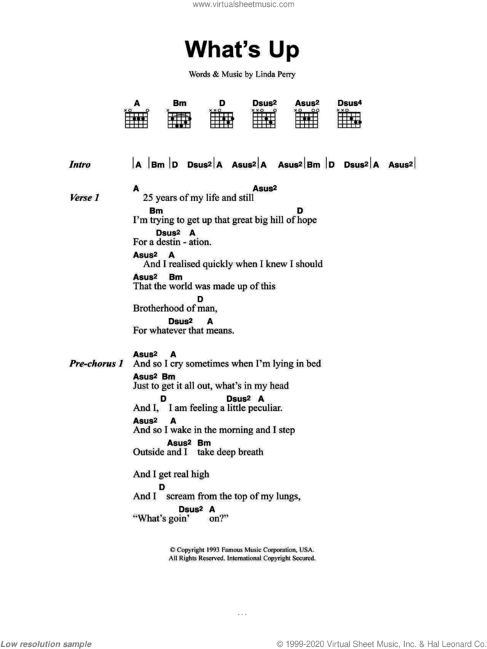 What's Up sheet music for guitar (chords) by 4 Non Blondes and Linda Perry, intermediate skill level
