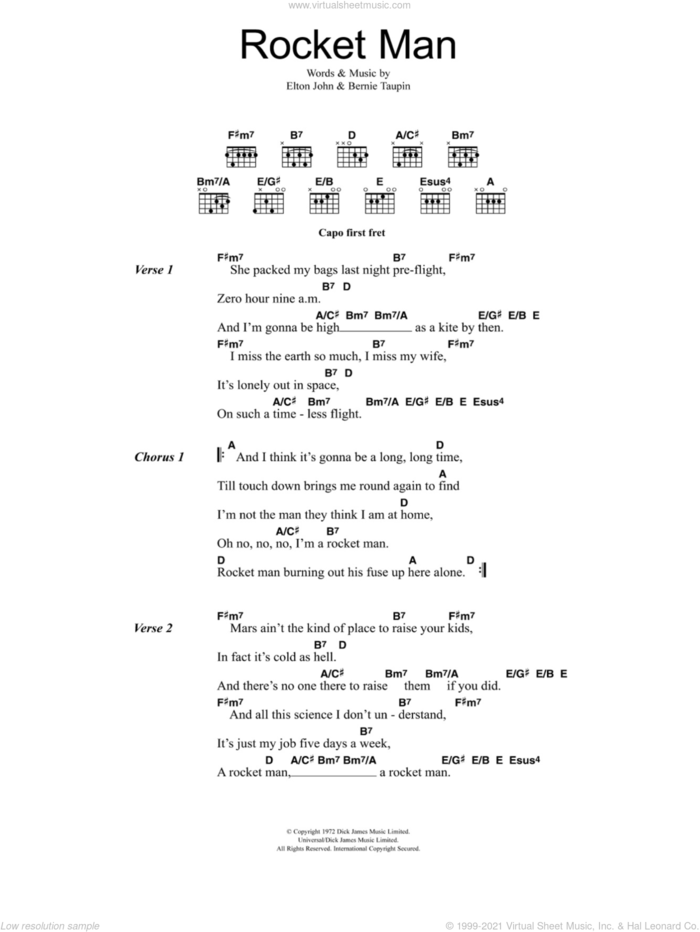 Rocket Man (I Think It's Gonna Be A Long Long Time) sheet music for guitar (chords) by Elton John and Bernie Taupin, intermediate skill level