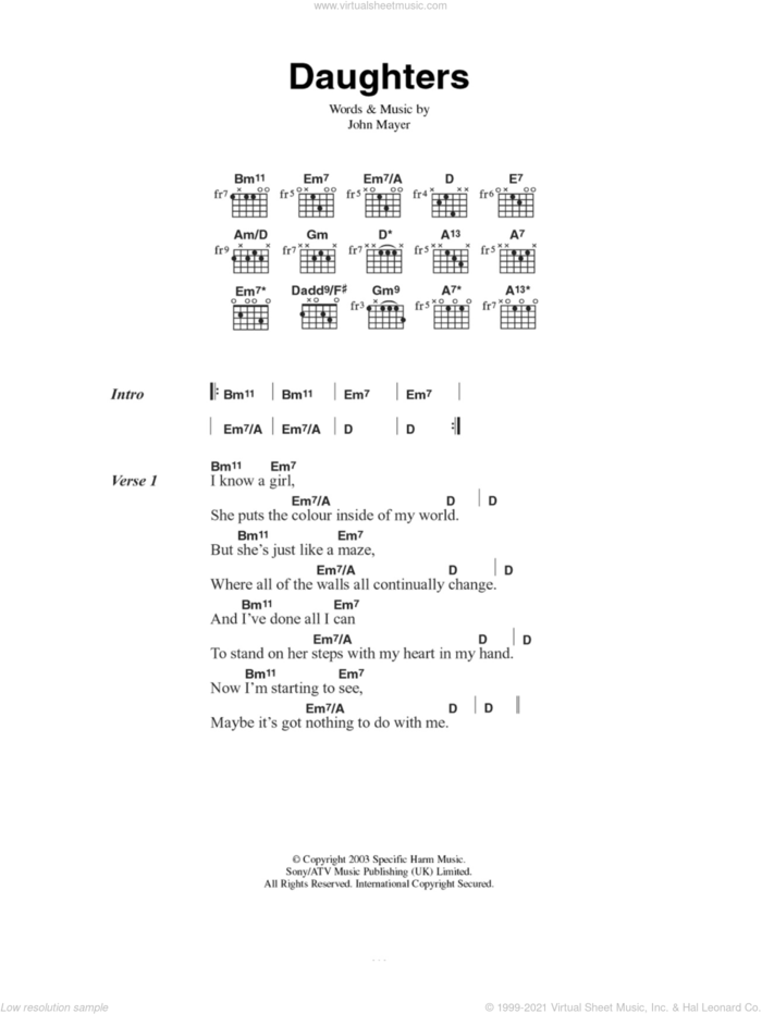 Daughters sheet music for guitar (chords) by John Mayer, intermediate skill level