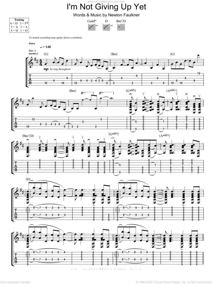 I'm Not Giving Up Yet sheet music for guitar (tablature) by Newton Faulkner, intermediate skill level