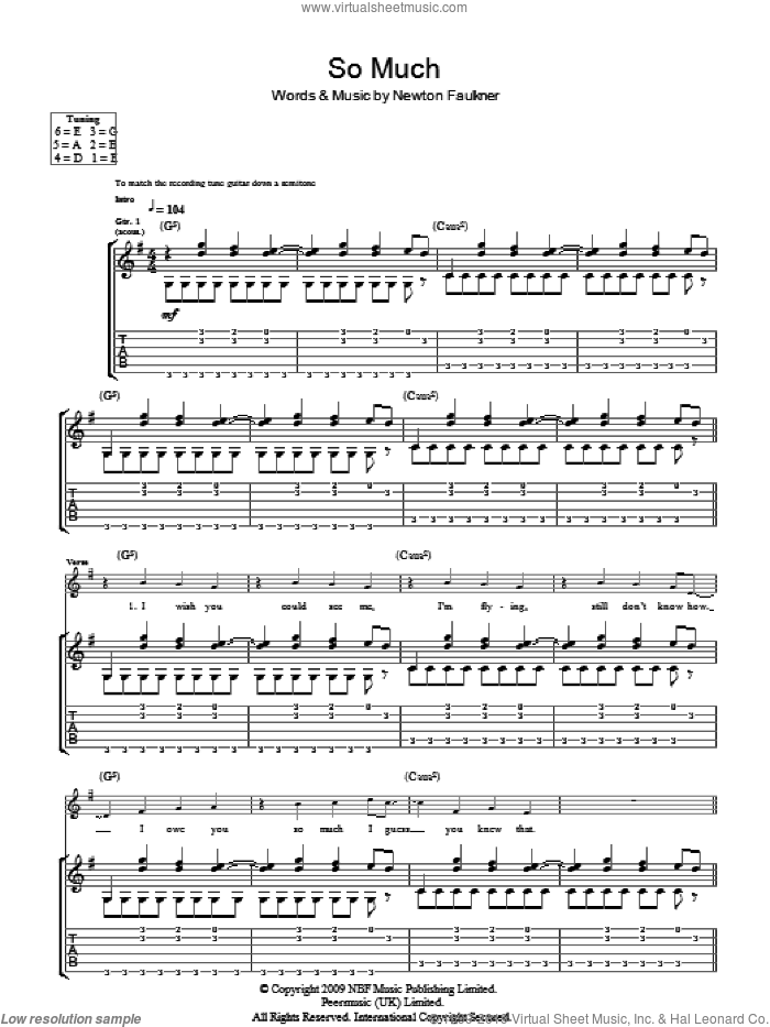 So Much sheet music for guitar (tablature) by Newton Faulkner, intermediate skill level