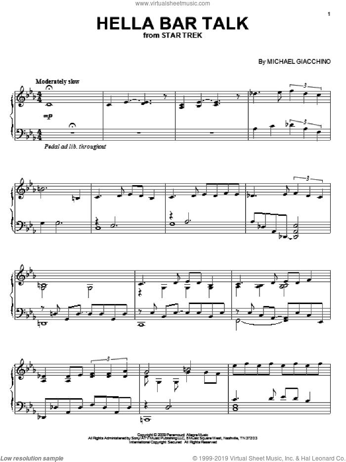 Hella Bar Talk sheet music for piano solo by Michael Giacchino and Star Trek(R), intermediate skill level