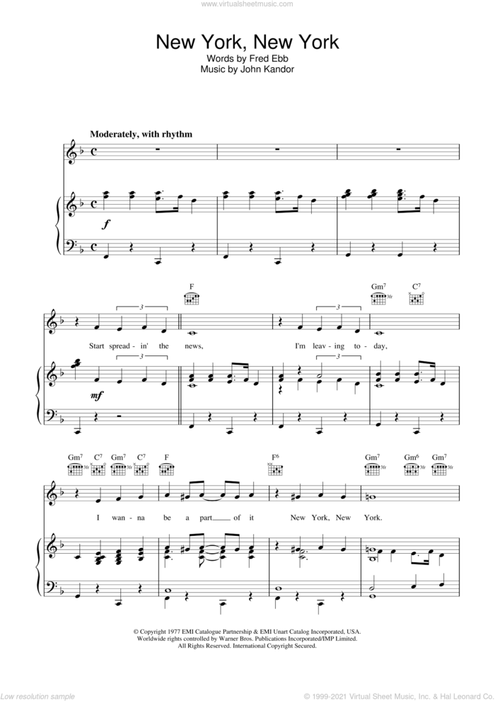 New York, New York sheet music for voice, piano or guitar by Frank Sinatra, intermediate skill level