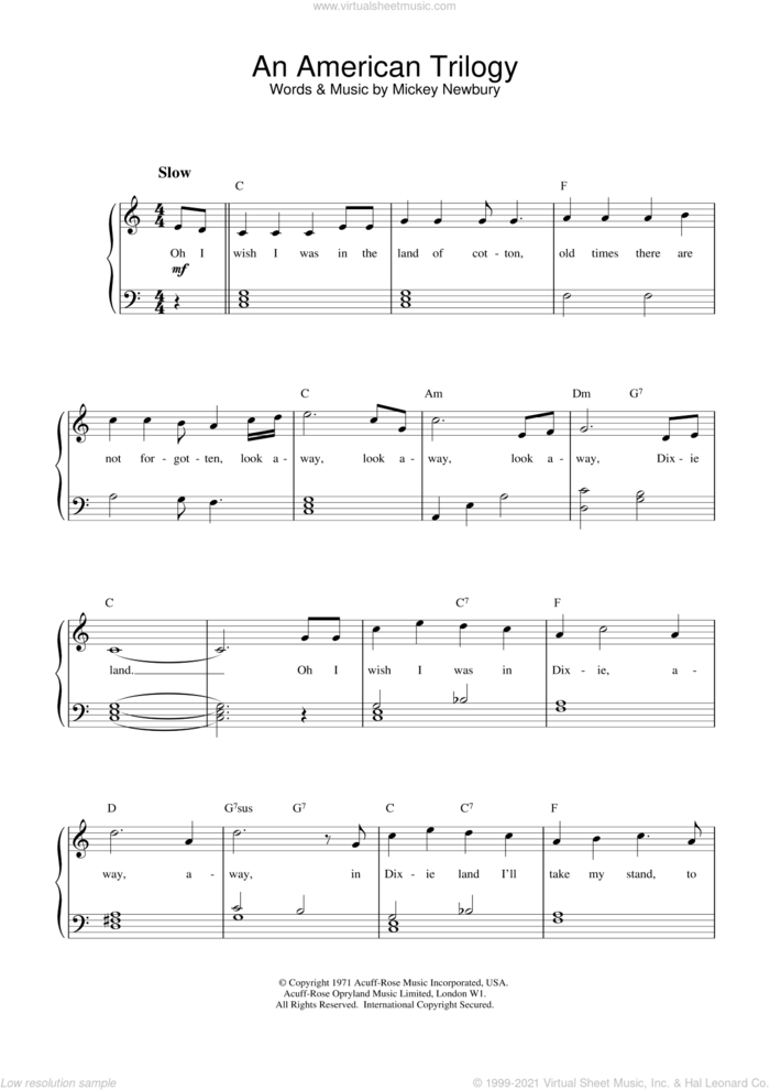 An American Trilogy sheet music for piano solo (beginners) by Elvis Presley and Mickey Newbury, beginner piano (beginners)