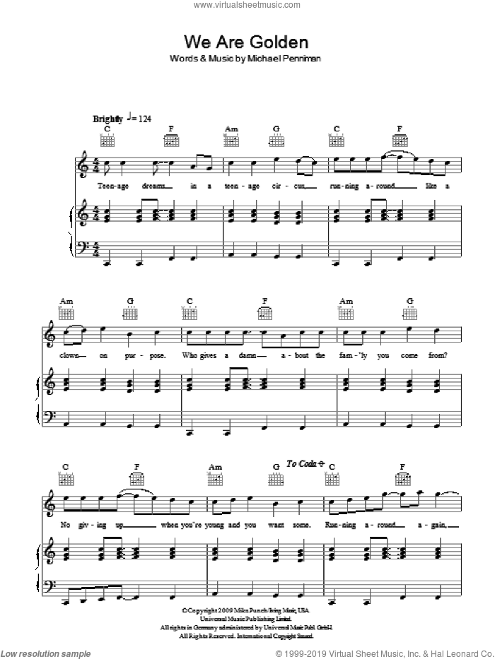 We Are Golden sheet music for voice, piano or guitar by Mika and Michael Penniman, intermediate skill level
