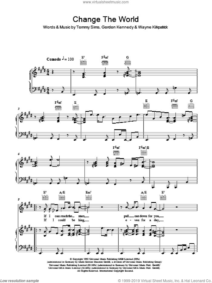 Change The World sheet music for voice, piano or guitar by Eric Clapton, Gordon Kennedy, Tommy Sims and Wayne Kirkpatrick, intermediate skill level