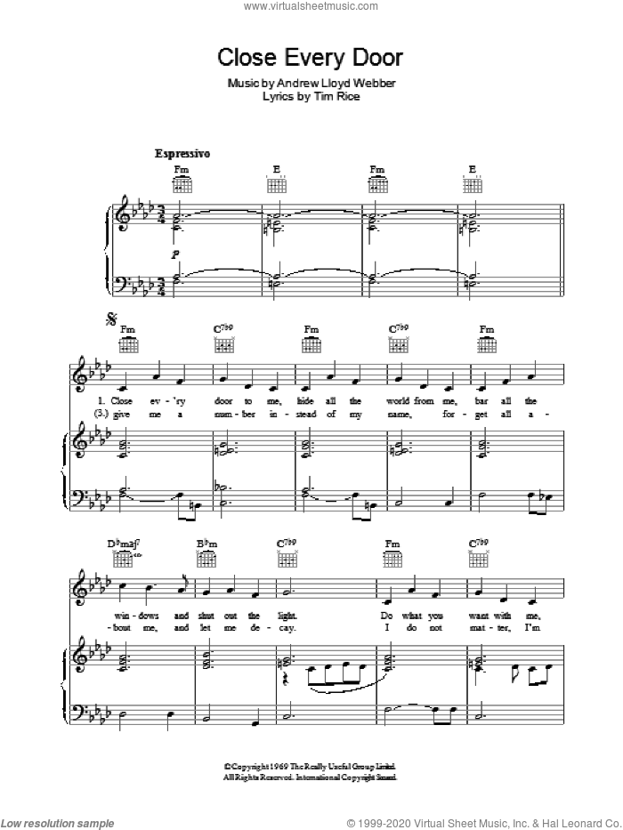 Close Every Door sheet music for voice, piano or guitar by Andrew Lloyd Webber and Tim Rice, intermediate skill level