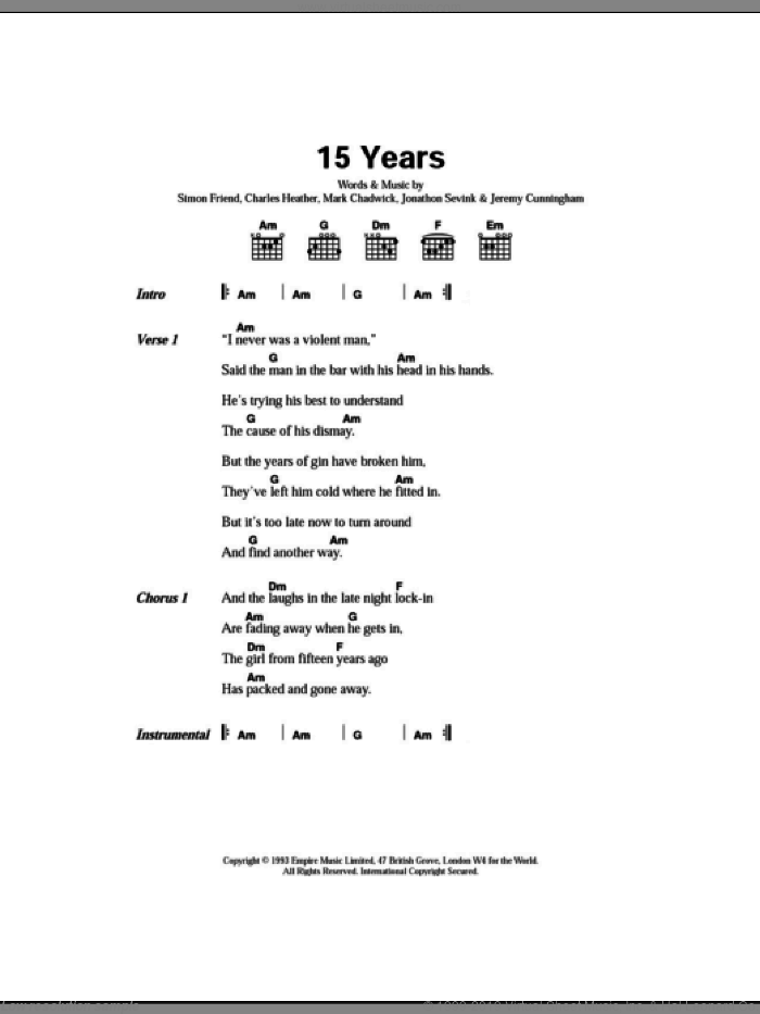 15 Years sheet music for guitar (chords) by The Levellers, Charles Heather, Jeremy Cunningham, Jonathan Sevink, Mark Chadwick and Simon Friend, intermediate skill level