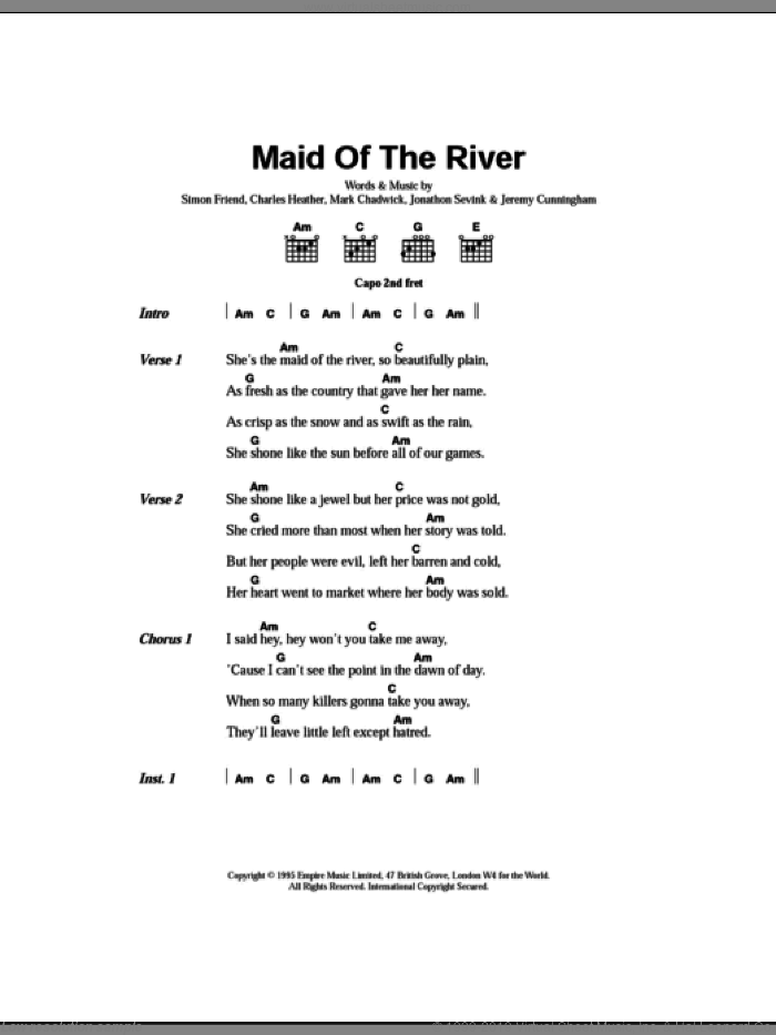 Maid Of The River sheet music for guitar (chords) by The Levellers and Stephen Ryan, intermediate skill level