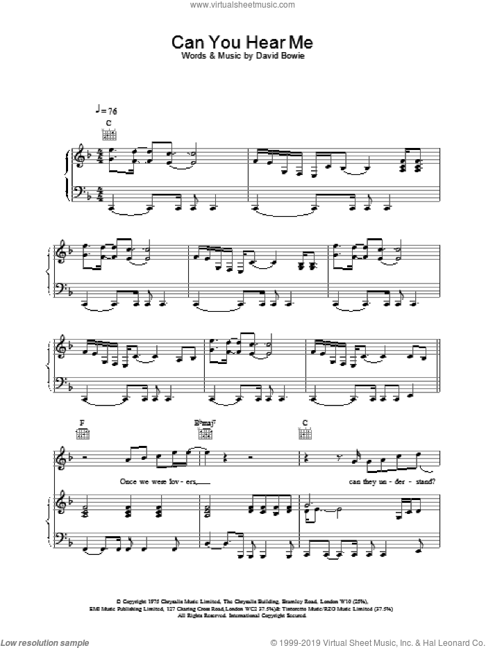 Can You Hear Me sheet music for voice, piano or guitar by David Bowie, intermediate skill level