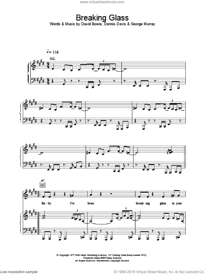 Breaking Glass sheet music for voice, piano or guitar by David Bowie, intermediate skill level