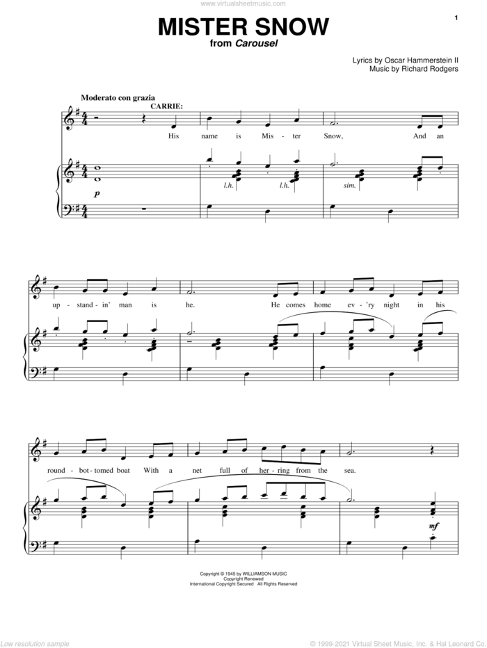 Mister Snow (from Carousel) sheet music for voice and piano by Rodgers & Hammerstein, Carousel (Musical), Oscar II Hammerstein and Richard Rodgers, intermediate skill level