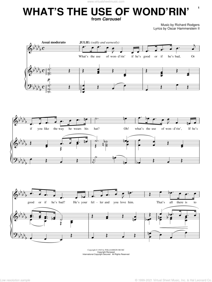 What's The Use Of Wond'rin' sheet music for voice and piano by Rodgers & Hammerstein, Carousel (Musical), Oscar II Hammerstein and Richard Rodgers, intermediate skill level