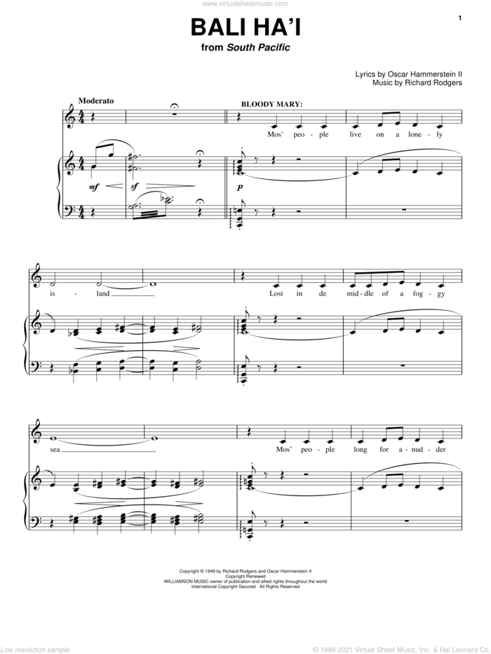 Bali Ha'i sheet music for voice and piano by Rodgers & Hammerstein, South Pacific (Musical), Oscar II Hammerstein and Richard Rodgers, intermediate skill level