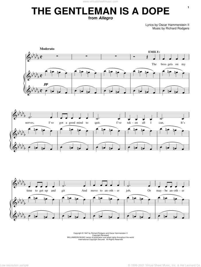 The Gentleman Is A Dope sheet music for voice and piano by Rodgers & Hammerstein, Allegro (Musical), Oscar II Hammerstein and Richard Rodgers, intermediate skill level