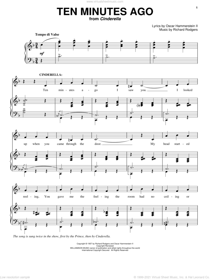 Ten Minutes Ago sheet music for voice and piano by Rodgers & Hammerstein, Cinderella (Musical), Oscar II Hammerstein and Richard Rodgers, intermediate skill level