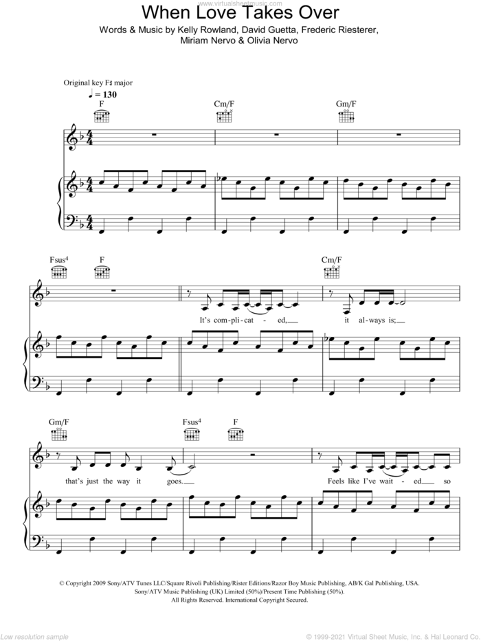 When Love Takes Over sheet music for voice, piano or guitar by David Guetta featuring Kelly Rowland, David Guetta, Frederic Riesterer, Kelly Rowland, Miriam Nervo and Olivia Nervo, intermediate skill level