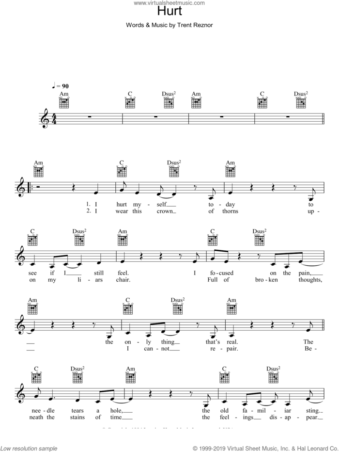 Hurt sheet music for voice and other instruments (fake book) by Johnny Cash and Trent Reznor, intermediate skill level
