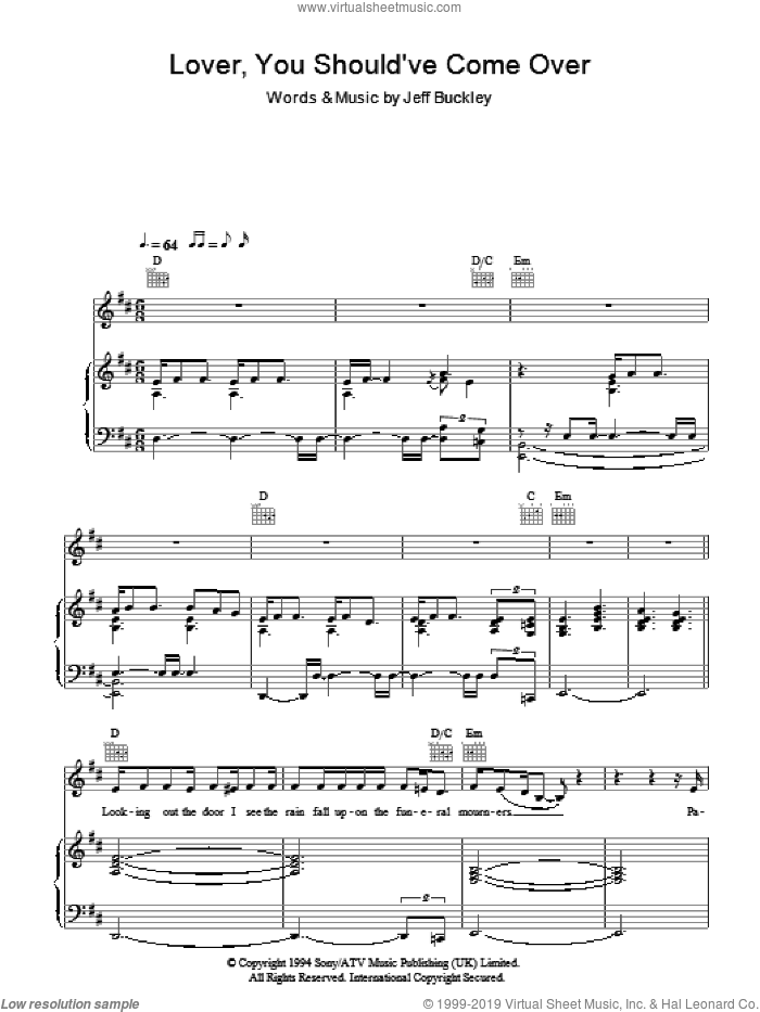 Lover, You Should've Come Over sheet music for voice, piano or guitar by Jeff Buckley and Jamie Cullum, intermediate skill level