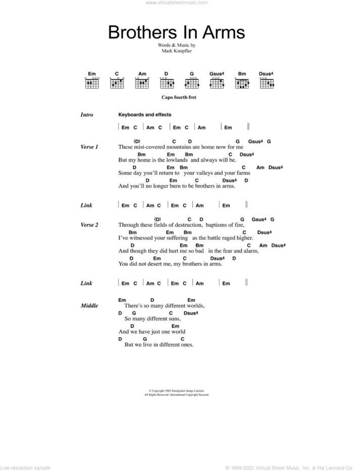 Brothers In Arms sheet music for guitar (chords) by Dire Straits and Mark Knopfler, intermediate skill level