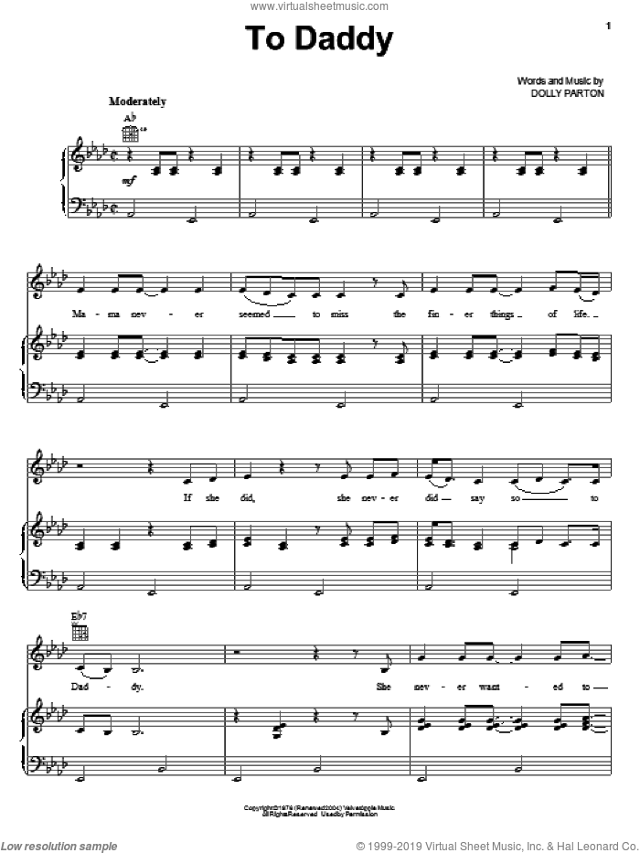 To Daddy sheet music for voice, piano or guitar by Emmylou Harris and Dolly Parton, intermediate skill level