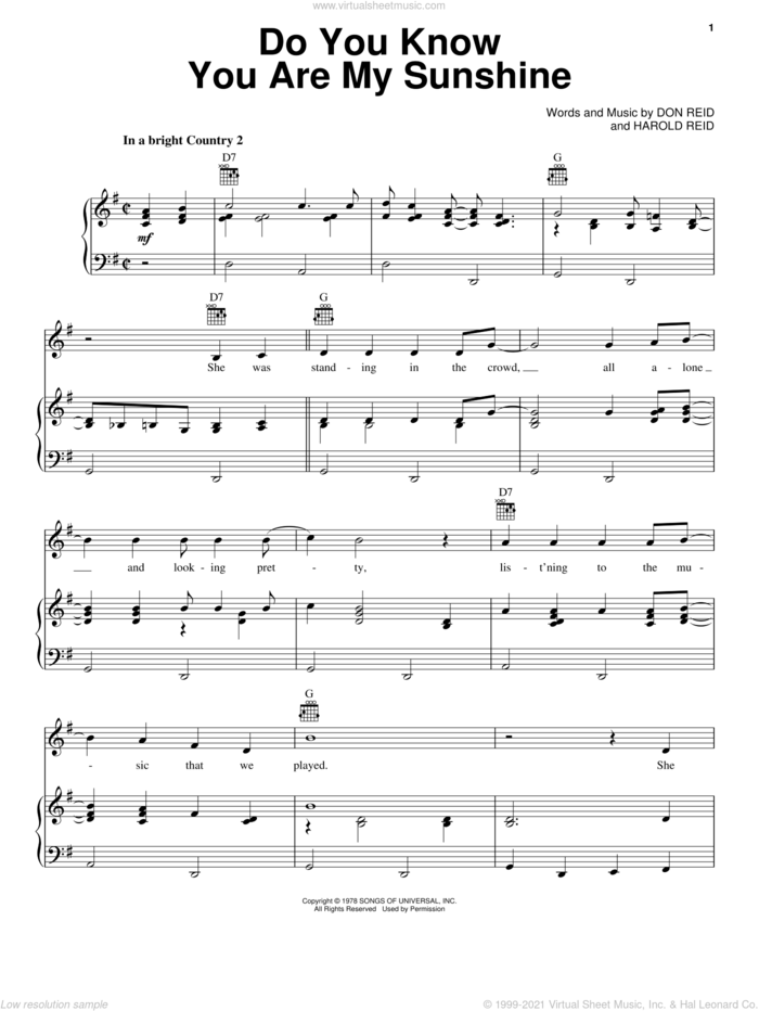 Do You Know You Are My Sunshine sheet music for voice, piano or guitar by The Statler Brothers, Don Reid and Harold Reid, intermediate skill level
