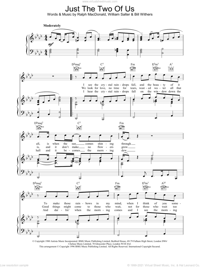 Just The Two Of Us sheet music for voice, piano or guitar by Grover Washington Jr., Grover Washington Jr. feat. Bill Withers and Bill Withers, wedding score, intermediate skill level