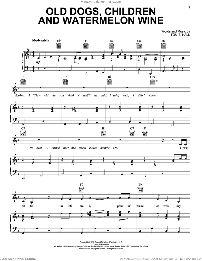 Old Dogs, Children And Watermelon Wine sheet music for voice, piano or guitar by Tom T. Hall, intermediate skill level
