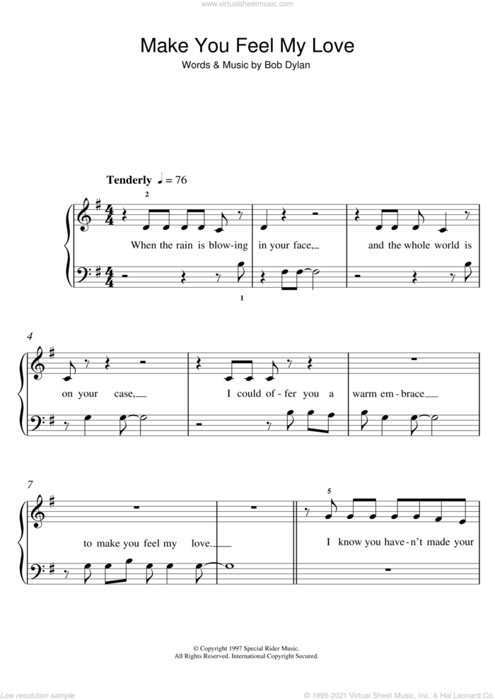 Make You Feel My Love sheet music for piano solo (5-fingers) by Adele and Bob Dylan, beginner piano (5-fingers)